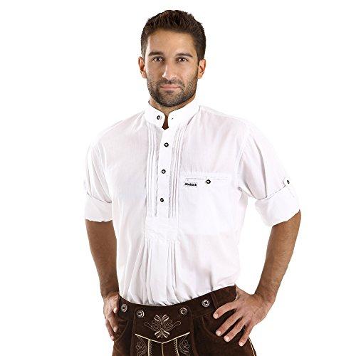 Almbock Trachten Hemd Fidelius in weiss - für Herren, mit Stehkragen in weiß, in Größen S M L XL XXL 3XL,halbarm, für Hochzeit, hochwertig, einfarbig