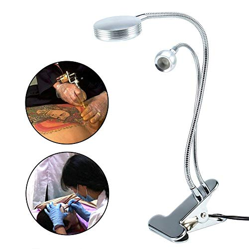 Tattoo Light - BESTGIFT Portable Double Headed LED Clip Lamp, Bendable 2in1 Portable USB Desk Light for Reading, BBQ, Makeup Tattoo Manicure Lash Extension (Warm (Double Extension Table)