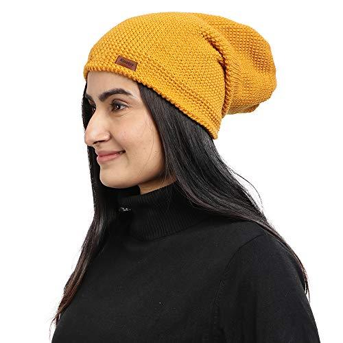 Knotyy Unisex Woollen Beanie Cap  Yellow, Free Size