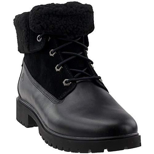 (Timberland Women's Jayne Waterproof Teddy Fleece Fold Down Fashion Boot Black Full Grain 9 M US)