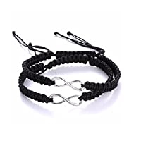 Two Pack Infinity Bracelet Set for Couples or Best Friends with BlackLBL Gift Bag