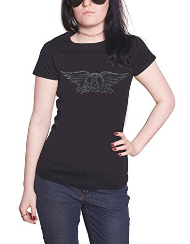 A Shirt Logo Noir Distressed T Fit Officiel Aerosmith Skinny Print Femme Flting qtHTWB