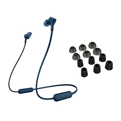 Sony WI-XB400 Extra Bass Wireless in-Ear Headphones (Blue) with Knox Gear Noise Isolating Memory Foam Tips & Silicone Earbuds (6 Pairs with case) Bundle (2 Items)
