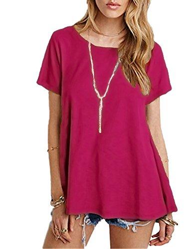 Afibi Aux Manche shirt Tunique Courte Femmes T Neck Base Balançoire Vrac Scoop Rouge De Violet En 1rn1OIdxq