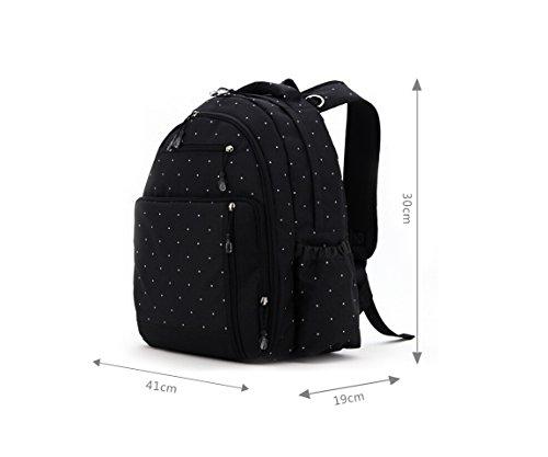 Aivtalk Bolso Maternal Mochila Multifunción Cambiador de Pañales Backpack para Carro Carrito de Bebé Biberón Botella Comida Viaje 30cm(L) x 19cm(W) x 41cm(H) - Floral Lunares Negro Lunares
