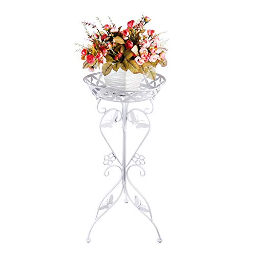 WOLFBUSH 30'' Tall Plant Stand Demountable Art Flower Pot Holder Rack Metal Potted Plant Stand for Garden Home Office, 2 Tiers (White)