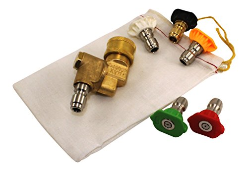 Pressure Washer Nozzle Tips and Quick Connect Pivot Coupler – ¼ in, 3.0 GPM, 1500-3750 PSI, 0, 15, 25, 45, 60 – For Most Power Washer Spray Wands and Accessories – Free Industrial Cotton Bag by Hurleco (Image #1)
