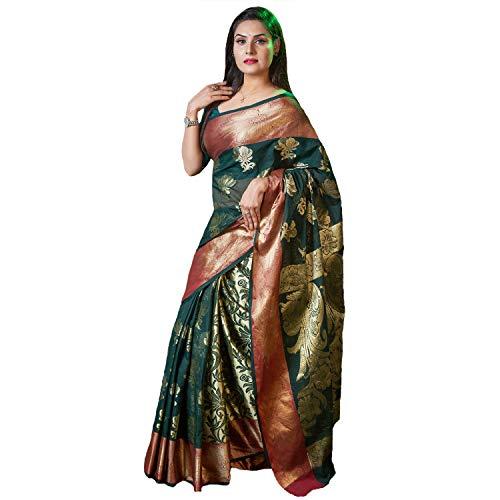 AAYU Women's Fashionable Cotton Silk Katan Saree (Pine) ()