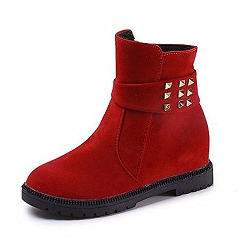 ZHUDJ Damen Schuhe Winter Stiefel Round Toe Mid-Calf Stiefel Mit Reißverschluss Für Casual Rot Schwarz Red