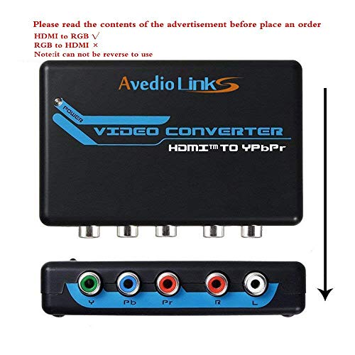 avedio links HDMI to Component Video (YPbPr) RGB 1080p + R/L Audio Output 2 Channels LPCM Converter Adapter Support PS3, PS4, Blu-ray DVD, Xbox, Notebook (Blue)