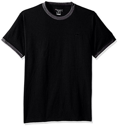 Champion Men's Classic Jersey Ringer Tee, Black/Granite Heather, S