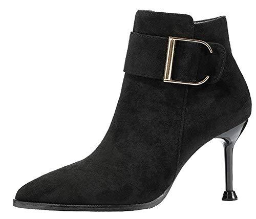 Fermeture À Haut Aisun Femme Talon Solide Eclair Noël Noir Chaussures Bottine qxwAfI0w