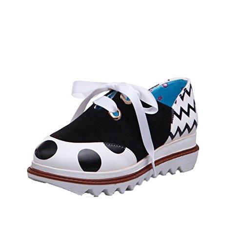 AmoonyFashion Womens PU Lace-Up Round-Toe Kitten-Heels Polka-Dots Pumps-Shoes Black c1d9ar6