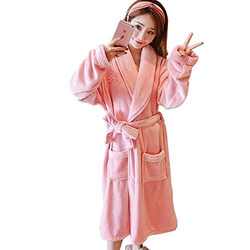 Tamaño Rosa Las Bordada De Gjfeng E Albornoz color Invierno Cinturón Mujeres Solapa Otoño Pink Pijamas Pink Suelta Hogar Xxl Franela ttTPw8qS