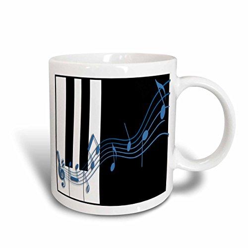 3dRose mug_12997_2 Blue Music Notes on Piano Keys Ceramic Mug, 15-Ounce