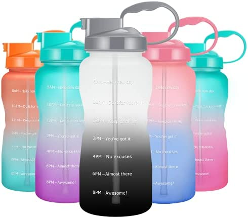 Podocarpus Large 64oz/128oz Motivational Water Bottle with Time Marker & Straw,Half Gallon/1 Gallon Water Bottle Leakproof BPA Free Water Jug with Handle Perfect for Fitness Gym Camping Outdoor Sports