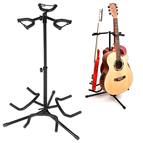 3 Multi Instrument Acoustic Electric Bass Guitar Iron Stand Storage Rack With Cotton Protection Head - Musical Instruments Guitar Parts - 1X Guitar Stand