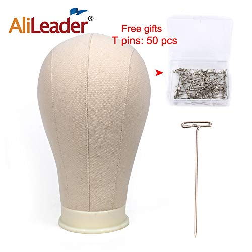 AliLeader 23 Size Canvas Block Wig Head for Wig Making, Styling, Display and Hat Making with Mount Hole(Canvas head+50PCS T-pins)