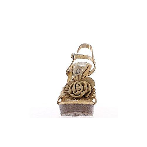 À Femme 12cm Compensées De Fleur Talon Sandales Taupes 7Uq8wStx