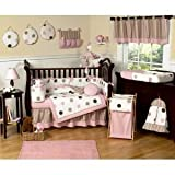 Sweet Jojo Designs 3-Piece Pink and Brown Modern Dots Children's, Kids, Teen Full / Queen Girls Bedding Set