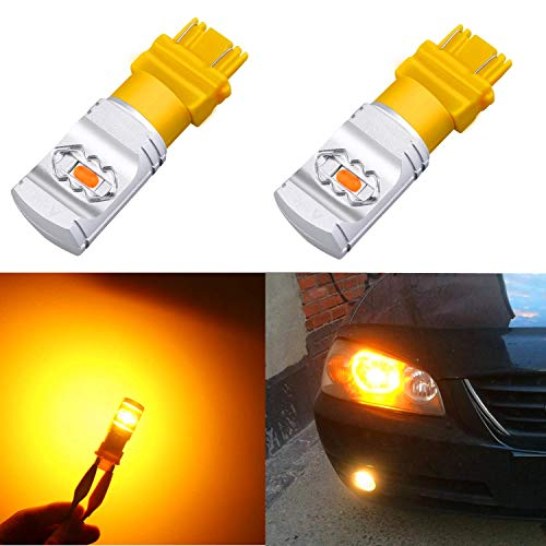 (Alla Lighting 3800lm T25 3156 3157 Amber Yellow LED Bulbs Xtreme Super Bright 4114 4157 3457 4057 3157 LED Bulb High Power ETI 56-SMD 12V LED 3157 Bulb for Car Truck Turn Signal Blinker Lights (2pcs))