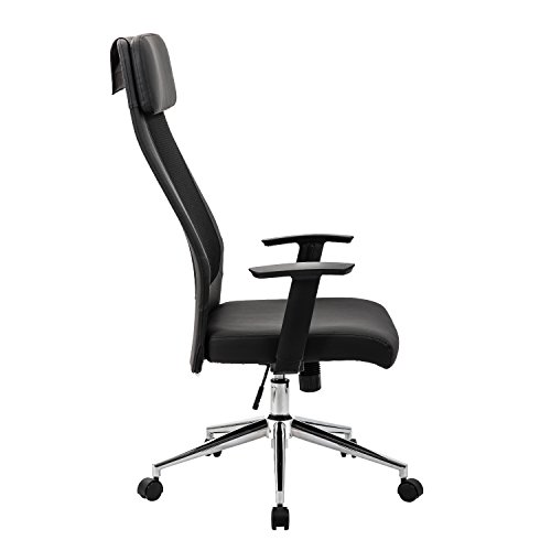 KADIRYA Extra High Back Mesh Office Chair - Computer Desk Task Chair with Padded Leather Removeable Headrest and Seat,Adjustable Armrest, Ergonomic Design for Back Lumbar Support, Black (Black) Photo #4