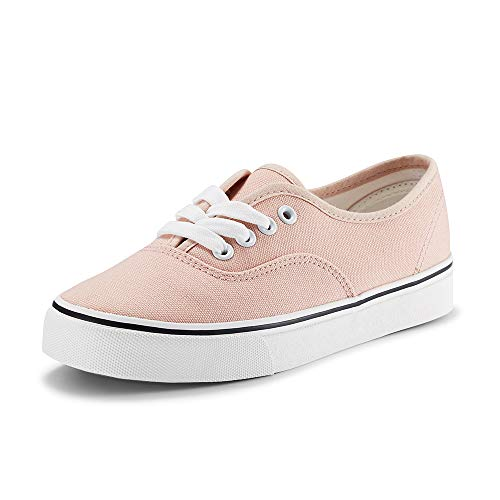 (Women Canvas Sneakers Casual Shoes Lace up Comfortable Footwear for Girls Walking Pink 8.5 US)