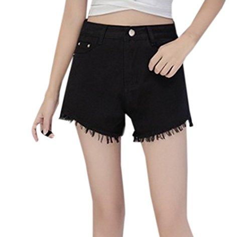 Jeans Denim Frange Shorts Casual Alta Pantaloni Nero a Vita con Moda Corto Pants Pantaloncini Hot Donna fxdqUHTH