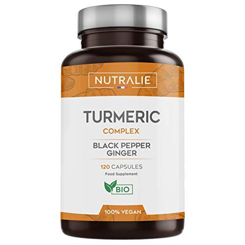 Curcuma organica Turmeric (650mg) con Jengibre(50mg) y Pimienta Negra(10mg) | 120 capsulas vegetales | Maxima calidad | Potente antiinflamatorio y antioxidante natural | Curcuma complex | Nutralie