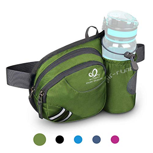 (Waterfly Hiking Waist Bag Fanny Pack with Water Bottle Holder for Men Women Running & Dog Walking Can Hold iPhone8 Plus Screen Size 6.5inch)