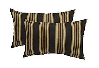 Set of 2- Indoor/Outdoor- Rectangle/Lumbar Throw/Toss Pillow- Black, Brown, and Ivory Stripe-- Choose Size (11'' x 19'') by Resort Spa Home Decor