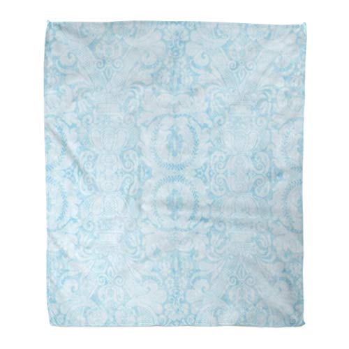 (Golee Throw Blanket Baby Vintage Blue Pattern Floral Antique Jacobean Wall Abstract Aged 60x80 Inches Warm Fuzzy Soft Blanket for Bed Sofa)