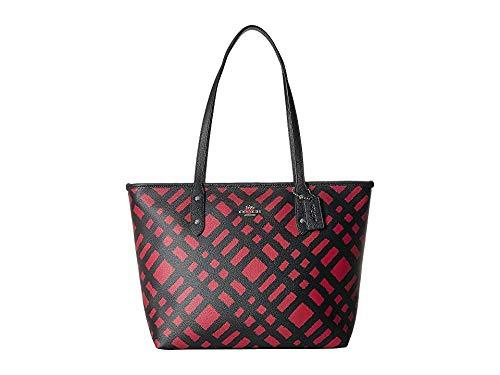 COACH Women's Wild Plaid City Zip Tote Sv/Red/Black Multi One - Tote Bag City