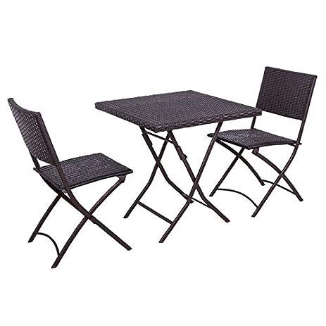 Palm Springs Garden Furniture Rattan Wicker Folding Bistro Set W/ Chairs,  Table