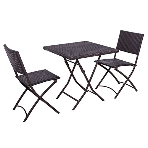 Palm Springs Garden Furniture Rattan Wicker Folding Bistro Set w/Chairs, - Springs Palm Wicker
