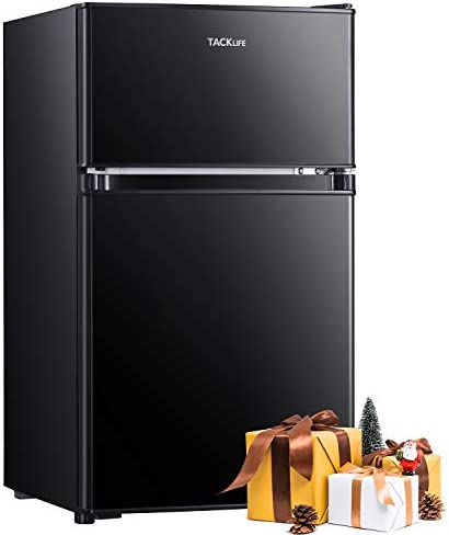 TACKLIFE Mini Fridge with Freezer, 3.2 Cu.Ft Compact Refrigerator, 2 Door small fridges Low Noise, Energy Saving, LED Inside, 2 Door Upright Fridge for Dorm, Apartment, Office, Black - MPBFD321