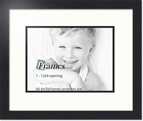 ArtToFrames Collage Photo Frame Double Mat with 1-9x12 Openings with Satin Black Frame and Porcelain mat.