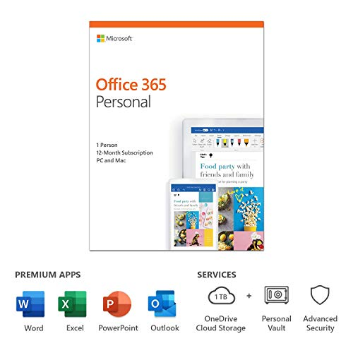 Microsoft 365 Personal | Office 365 apps | 1 user | 1 year subscription | PC/Mac, Tablet and Phone | multilingual…