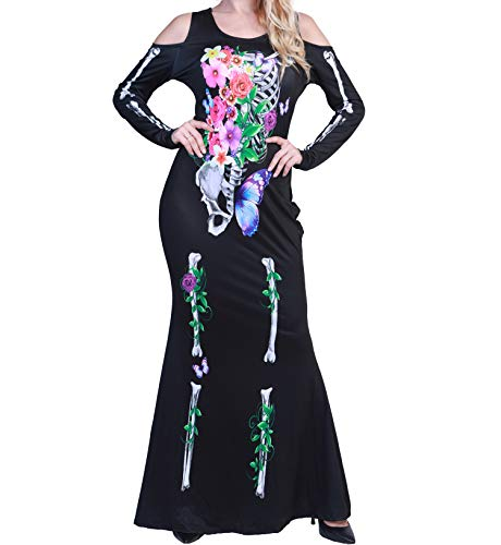 Women Round Neck Cold Shoulder Long Sleeve Halloween Cosplay Beautiful Floral Sugar Skull Skeleton Bones Dress Costume