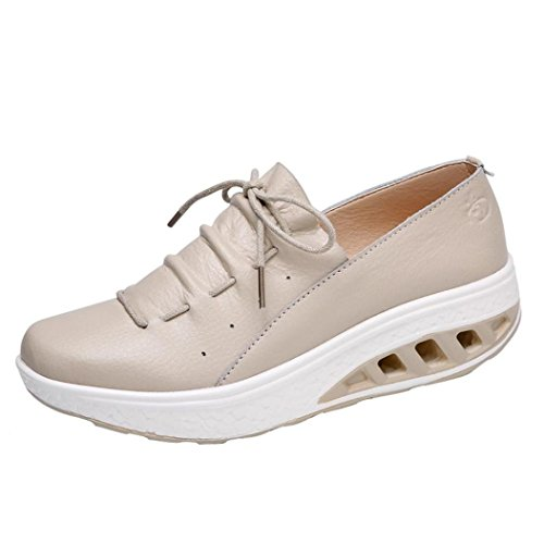 Sunshinehomely Women Girls Sport Running Shoes, Casual Comfortable Platform Walking Shoes Air Cushion Wedges Sneakers Shake Shoes (Khaki, US:5.5) by Sunshinehomely
