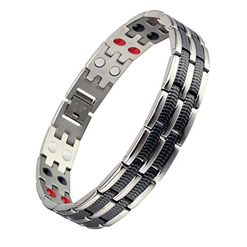 Titanium Magnetic Therapy Bracelet 4 Element Pain Relief for Arthritis and Carpal Tunnel (Silver&Black)