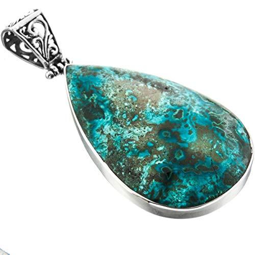 2 1/2'' Handmade Chrysocolla in Matrix 925 Sterling Silver Pendant YE-2064