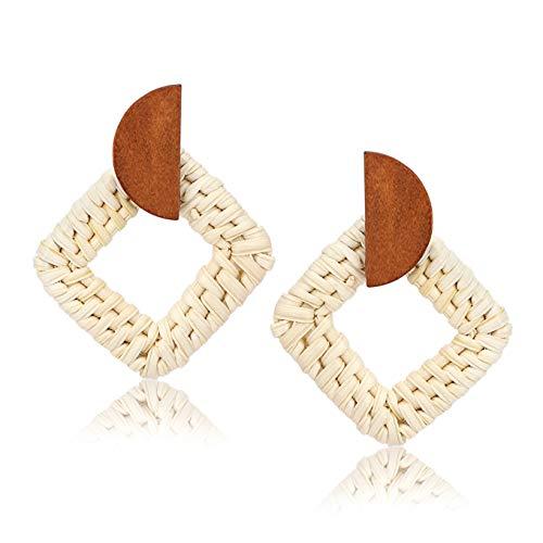 Straw Raffia Braid - BSJELL Woven Rattan Earrings Handmade Wicker Earrings Natural Straw Braid Half Moon Geometry Stud Drop Earrings Boho Lightweight Jewelry for Women