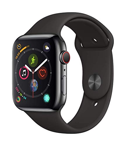 Apple Watch Series 4 (GPS + Cellular, 44mm) - Space Black Stainless Steel Case with Black Sport Band (Nike Gps Watch Band)
