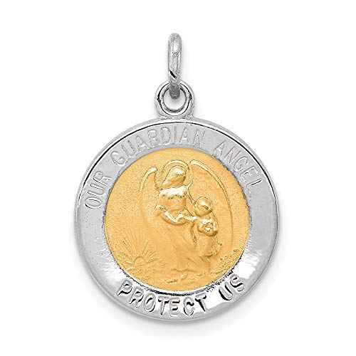 Jewelry Pendants & Charms Themed Charms Sterling Silver Rhodium-plated and Vermeil Guardian Angel Medal ()