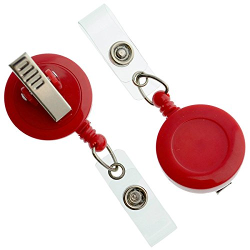 (15 Pack of Premium Retractable ID Badge Reels with Alligator Clip in Solid Colors (Red))