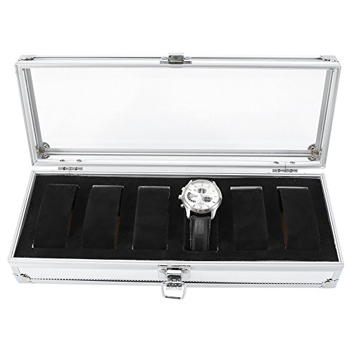6 Slot Watch Box Watch Display Case Aluminum Glass Top Jewelry Storage Case Organizer Large Holder Velvet Pillow with Metal Buckle Lock and Key for Men Women White