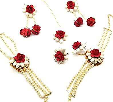 3ce972d6b JUI PEARLS Multicolour Plastic Red Rose and White Jasmine Gota Patti Flower  with Mangtika and A
