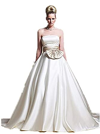 Quality Made to Measure A-line Strapless Chapel Train Satin Wedding Dress with Ribbon SALE