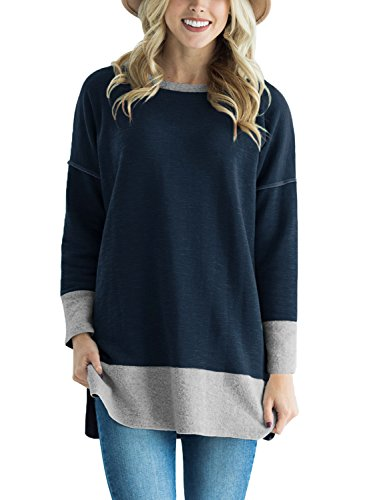 Astylish Women Casual Long Sleeve Color Block Sweatshirt Loose Tunic Tops with Side Slit Blue XX-Large by Astylish